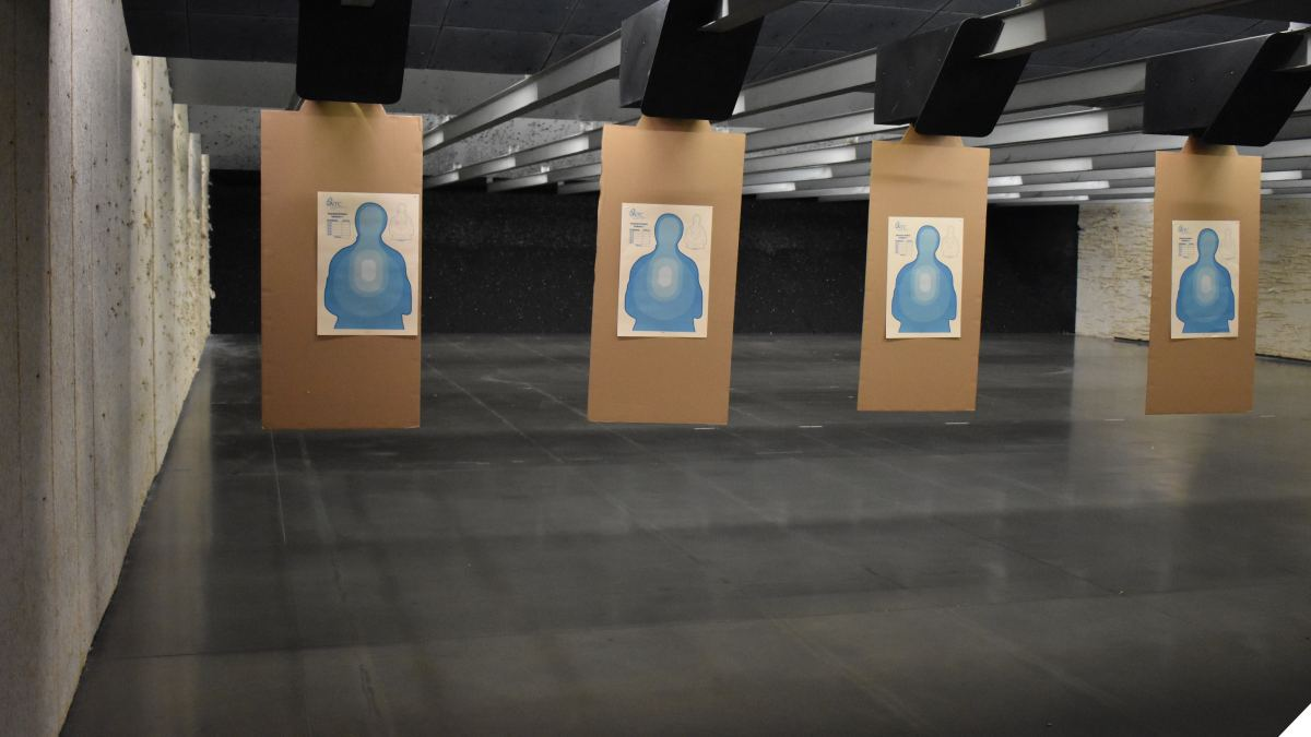 A row of blue transition targets on a shooting range