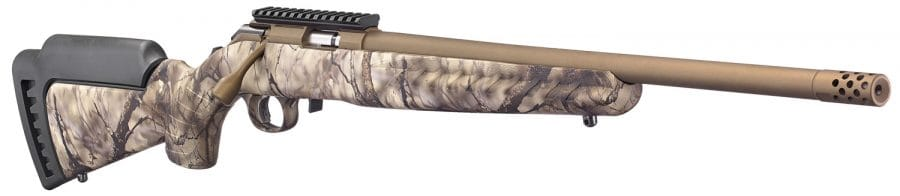 """The threaded barrel is compatible with Ruger's Silent-SR suppressors as well as most that utilize a 1/2""""-28TPI pitch should the user want to swap out the included muzzle brake with a can. The barrels are free-floating through the use of Ruger's Power Bedding integral block system."""