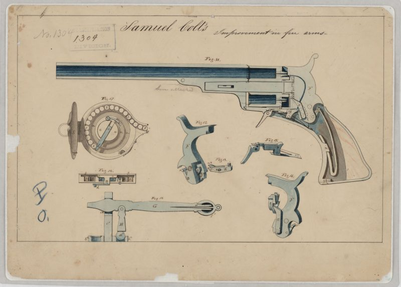 Samuel Colt revolver patent 1836 via NARA 102278478