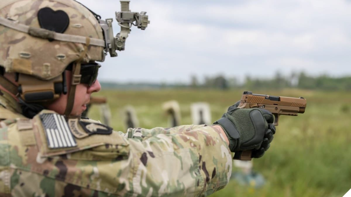 Twenty-two Soldiers from Task Force Carentan conducted pistol marksmanship training with the M17 pistol at Gallery 9, Yavoriv, Ukraine June 22 2019. (U.S. Army photo by Sgt. Justin Navin)