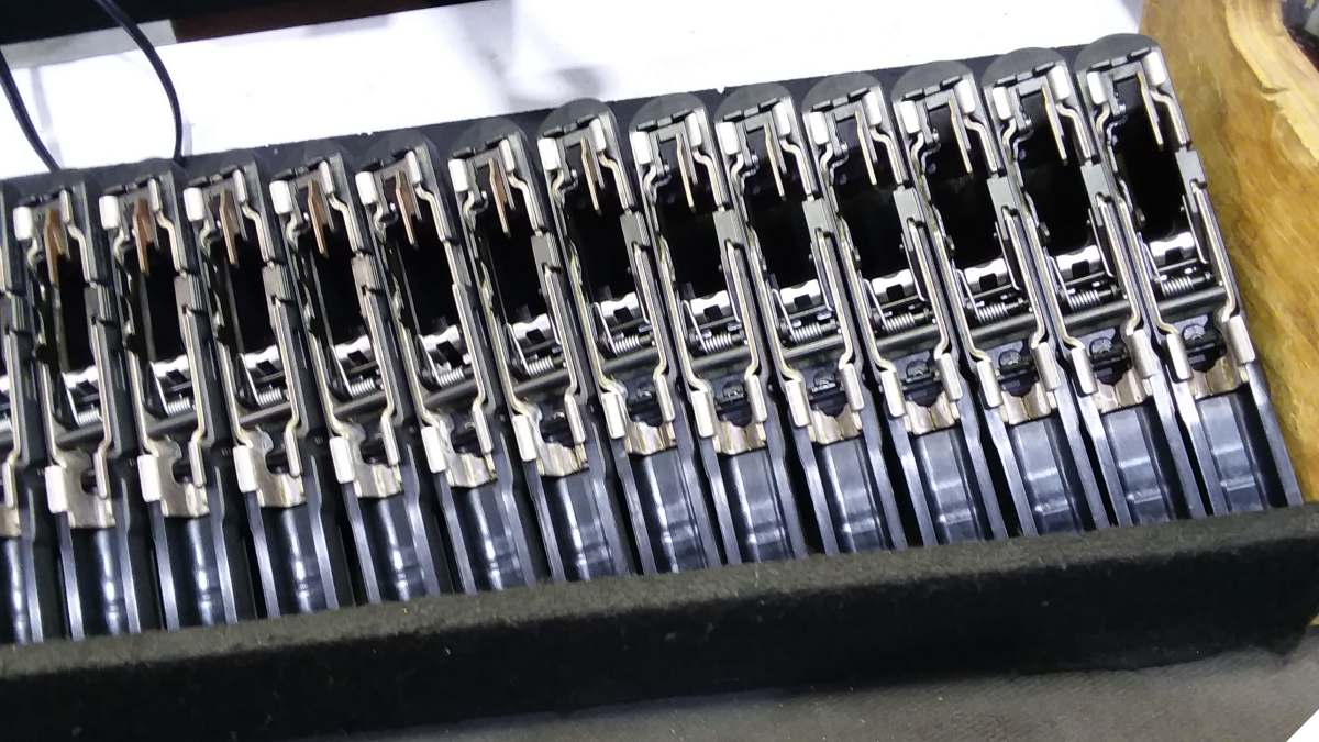 A rack of Diamondback DB9 9mm pistols at the factory in Cocoa Florida