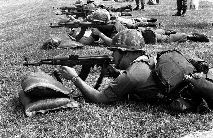 U.S. troops get the feel for the AK, here Romanian PM md. 63s, in 1982. (Photo: National Archives)