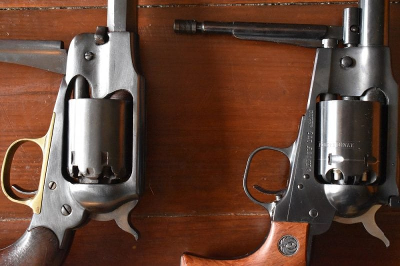 The sturdy loading lever/ramrod assembly on the Ruger is much beefier than the setup used by original New Army.