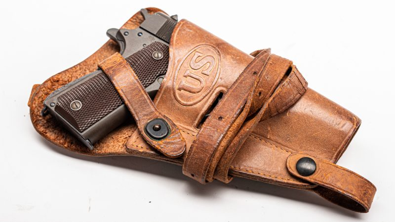 "The U.S.-marked leather holster is imarked ""U.S. Boyt 43"" (Photo: Richard Taylor?Guns.com)"