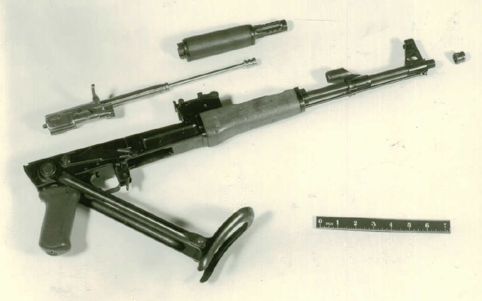 Right side view of an U.S.S.R. AK-47 submachine gun. 1961 East Germany