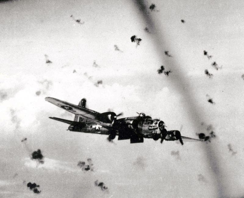 U.S. Army Air Force B-17 bombers flying through flak on their way to a target in Europe. At 25,000 feet, the temperature could drop below -60 degrees Fahrenheit but the Germans had their own way to keep things hot for American aircrews. (Photo: U.S. Air Force photo)