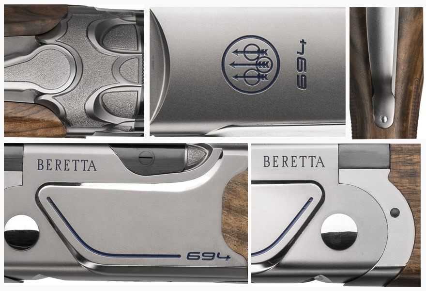 "The newly designed, steel action 694 has side panels with a mirrored profile and diagonal lines underlined by a blue graphic design on the company's Nistan finish. Beretta says the shotgun has a ""slim, modern design"" that lends ""a racing feel, for a bold, winning look."" (Photo: Beretta)"