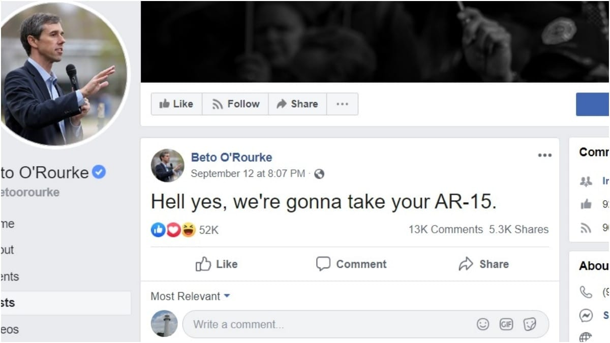 Beto: Hell Yes, We're Gonna to Take Your AR-15s, Your AK47s