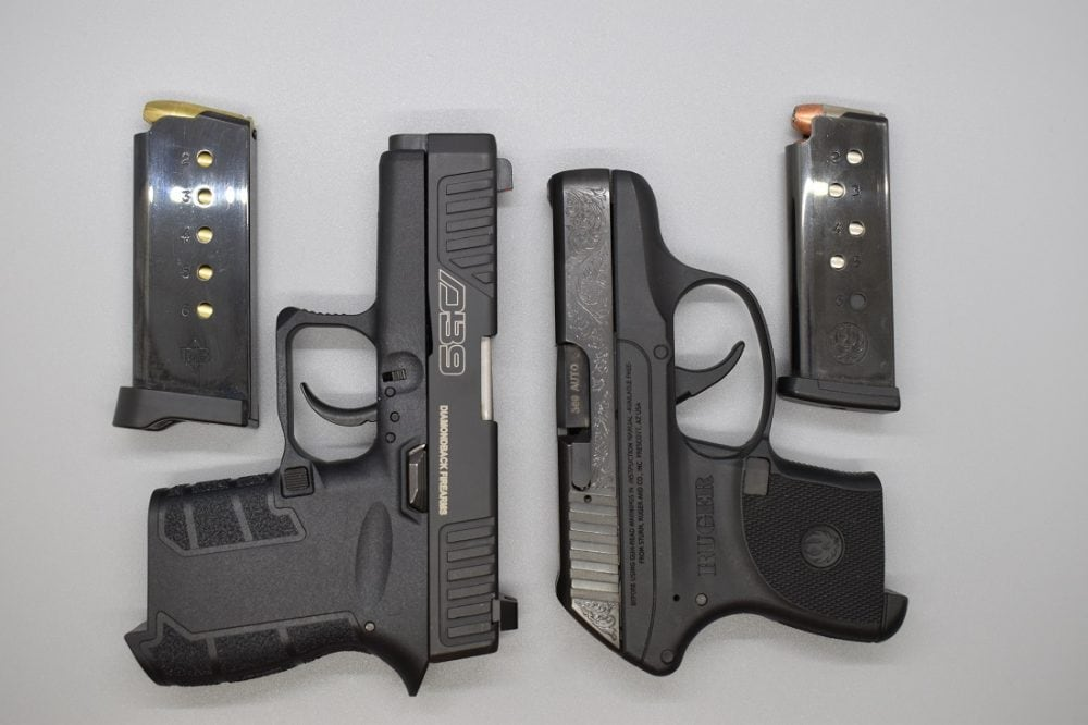 A more apples-to-apples comparison is between the DB9 and the Ruger LCP I. While the Ruger is smaller, you can also argue the Diamondback is chambered in 9mm, which has far more self-defense loads available than the LCP's .380 caliber. Both guns have the same magazine capacity.