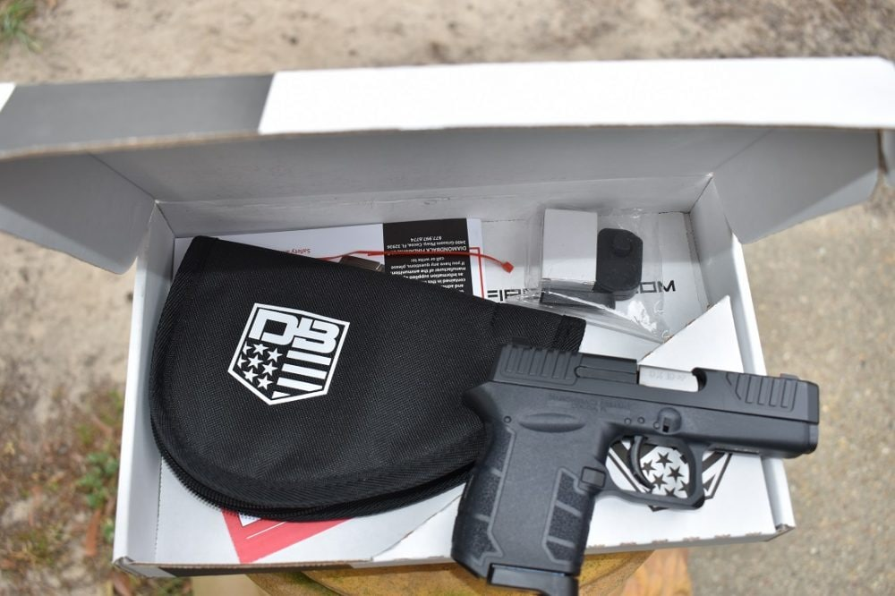 You can say a lot about the DB9, but Diamondback doesn't believe in nice boxes. The gun ships in cardboard but includes a zipper bag for storage. It ships with a single mag, but extras are cheap ($20) and the box includes both a finger extension floor pad and a flush example to allow the user a choice.