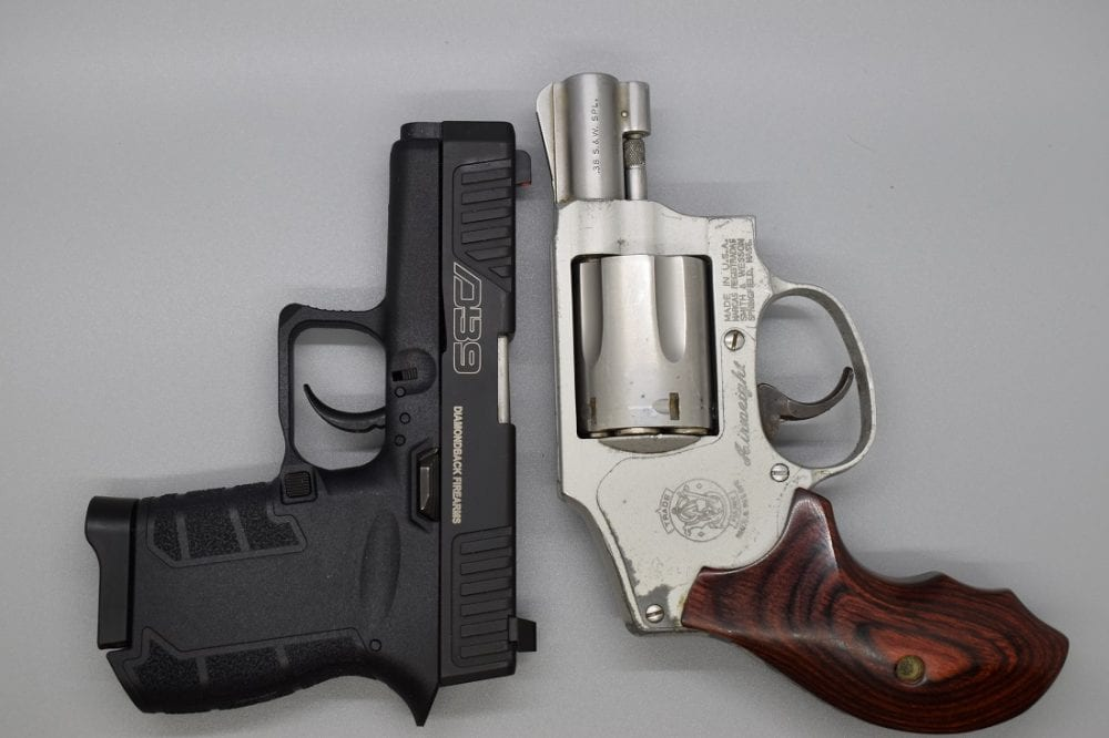 Here is a stack of the DB9 against the iconic pocket roscoe: The S&W J-Frame. As witnessed by this S&W M642, the DB9 is still smaller and a tad lighter. Plus, it can carry seven rounds of 9mm as opposed to five of .38.