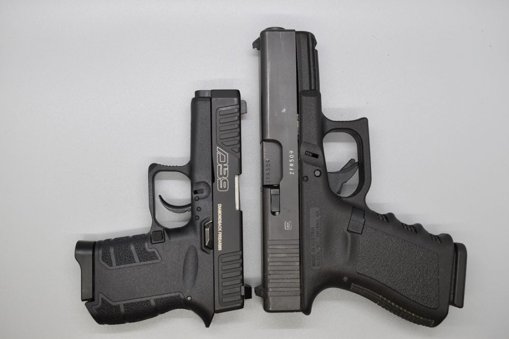 When compared to a compact 9mm, such as the Glock G19, the DB9 Gen 4 is a much-reduced envelope, though granted, it only has half the magazine capacity of this double stack. However, even when compared with the 18-ounce/6.26-inch Glock G43, it is still notably smaller.