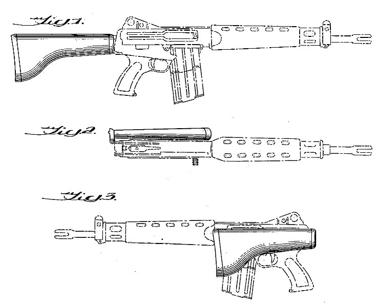 George Sullivan Armalite folding butt rifle AR16 USD199845 patent drawing
