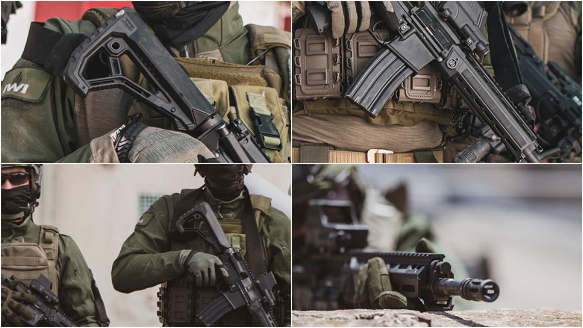 Note the features such as a collapsible stock, M-LOK rails with panels, and a free-floating quick-change barrel system that is reportedly suppressor-ready. (Photos: IWI)