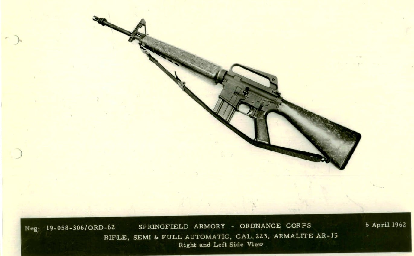 Left side view of Armalite AR-15 Automatic Rifle, Caliber 223 SPAR early fiberglass furniture 306-62.1
