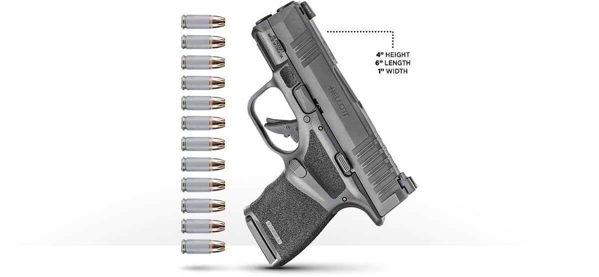 The 4-inch high Hellcat offers an 11+1 9mm capacity in a flush-fit magazine. (Photo: Springfield Armory)