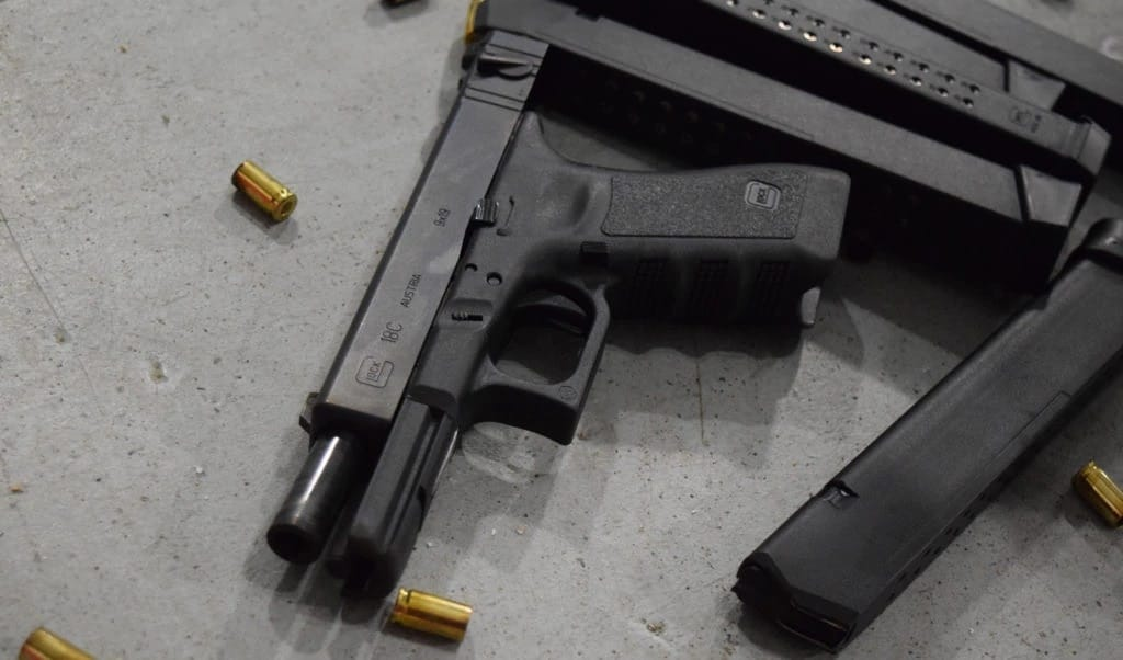 The Glock 18C is a compensated version of the G18, note the slide-mounted selector switch. (Photo: Guns.com)