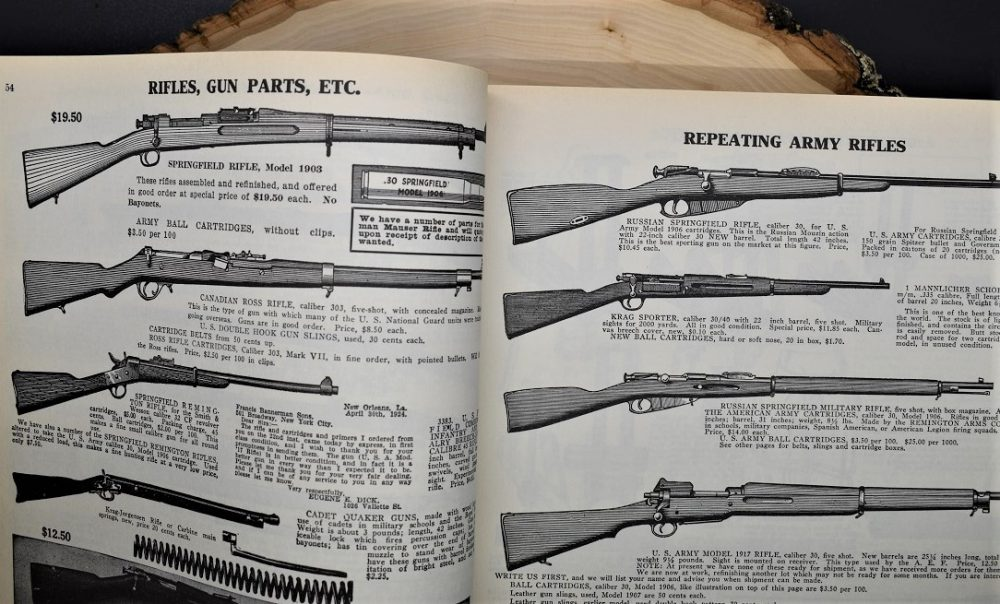 "This 1927 Bannerman's catalog has ""Russian Springfield Rifles"" which were typical Remington-made Tsarist contract Mosin M91s that were converted to .30-06 with new 22-inch barrels, alongside Krag sporters, .32CF Remington Rolling Blocks and Canadian Ross rifles. (Photo: Chris Eger/Guns.com)"