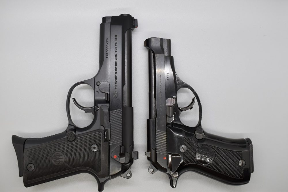 The 92X Compact is almost a comparable height of Beretta's venerable Cheetah line, shown here compared with a shorter Model 81 in .32ACP. As detractors of the G19X and similar concepts often point out, a big bone of contention when it comes to concealability is a pistol's height rather than overall length.