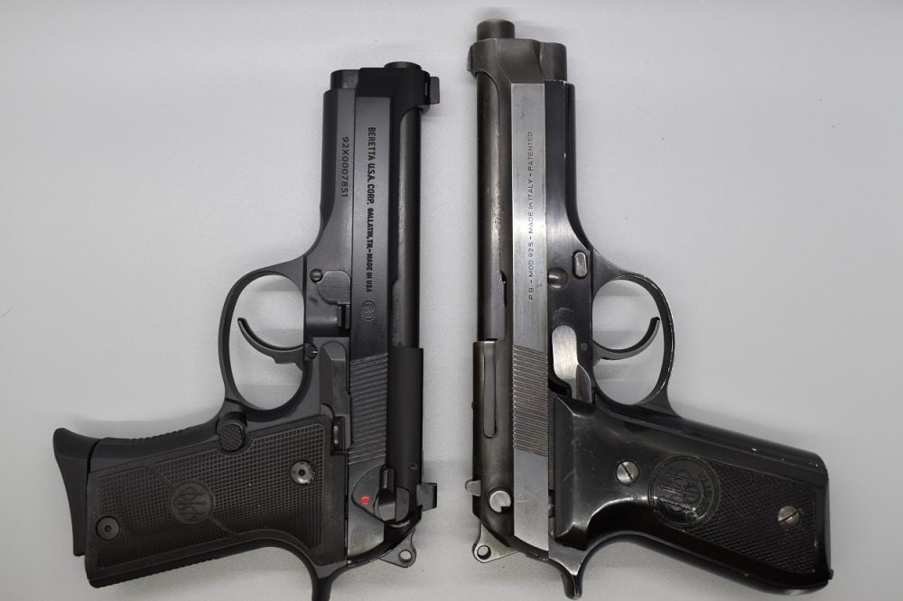 Inside the same family, you can see the comparison with a 1970s-era full-sized 92S. Note the slimmer Vertec pattern grip, Centurion-length slide, and shorter overall height.