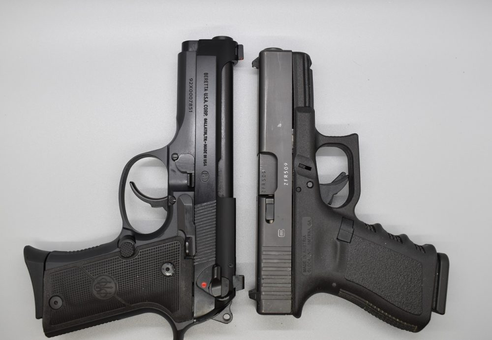 Compared to the Glock G19, the Beretta is again about a half-inch longer overall due to its slightly longer barrel and slide but runs close to the same height and weight even without the polymer frame.