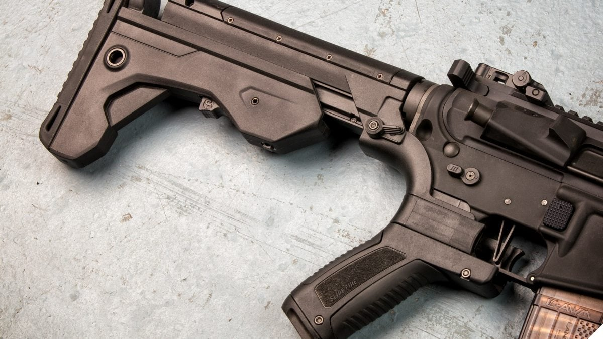 Retailers who had to destroy tens of thousands of bump stocks to comply with an ATF rule change went to court seeking reimbursement only to be rebuffed by a judge who said the government had the power to take the property without compensation. (Photo: Slide Fire Solutions)