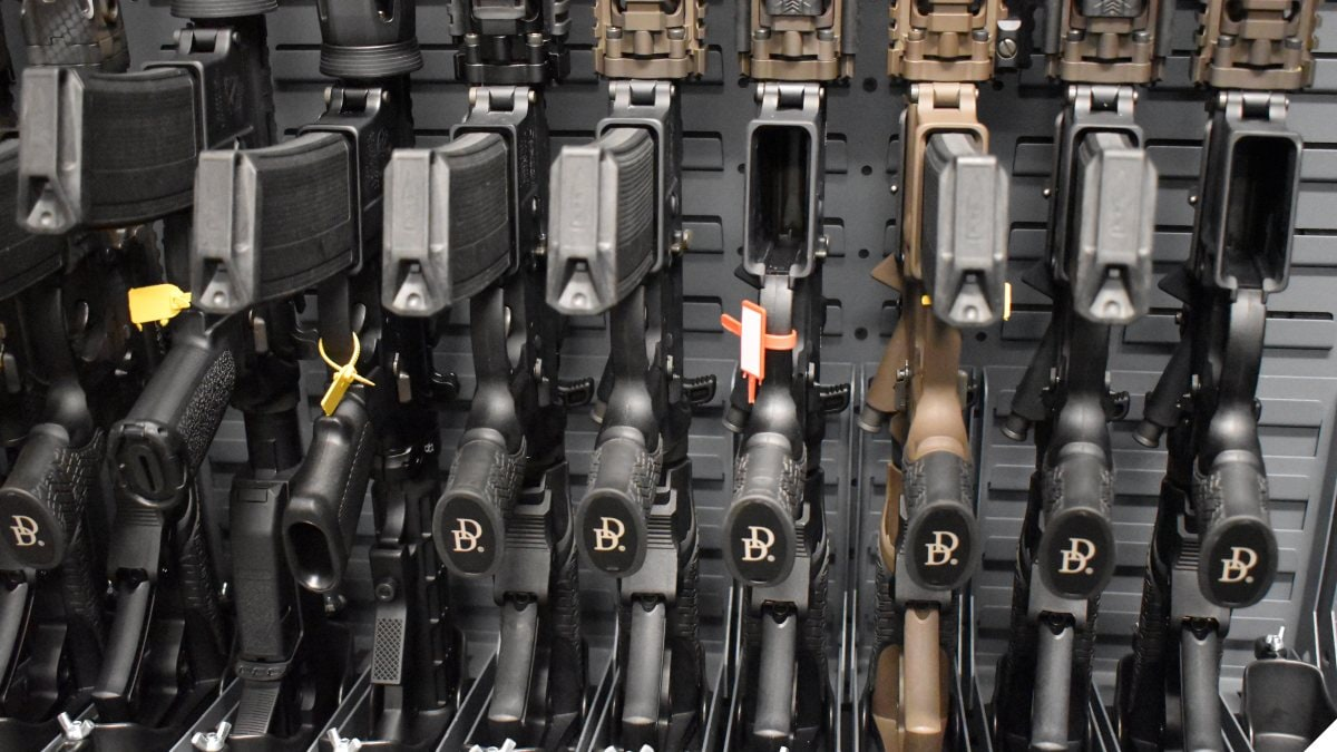 Daniel Defense modern sporting rifles on a rack