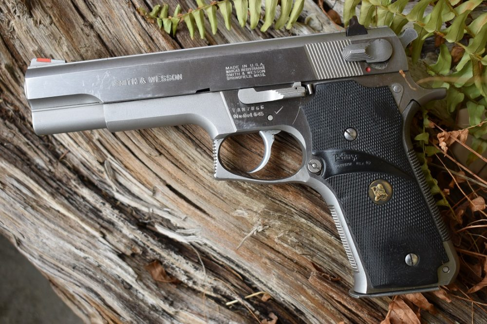 The 645 was only offered in an alloy frame and stainless slide format but did have an option between the fixed (shown) or adjustable sights.