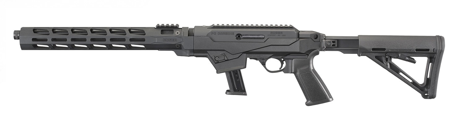 The model's CNC-milled handguard is Type III hard-coat anodized aluminum with Magpul M-LOK accessory attachment slots on all four sides. (Photo: Ruger)