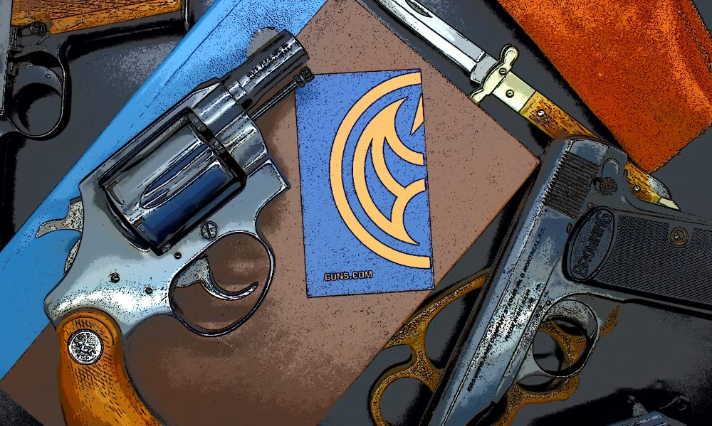noir revolvers spread out on table with notebooks and detective accessories