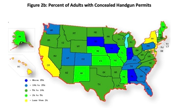 Percent of adults with concealed handgun permits (Photo: Crime Prevention Research Center)