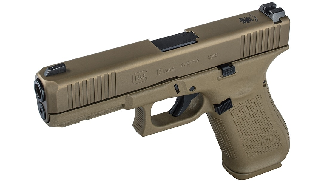 Portugal is hanging up their Walthers and assorted other 9mm handguns in favor of a Coyote Tan G17 complete with a lanyard loop and night sights, reminiscent of the G19X. (Photo: Glock)