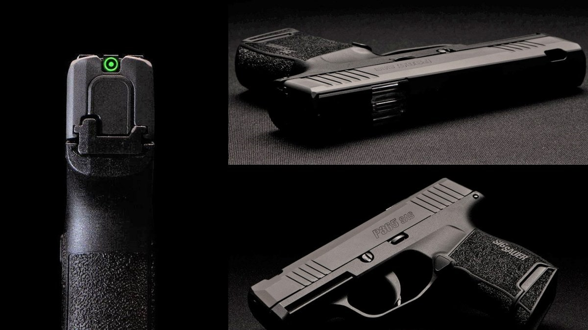Designed with the serious CCW user in mind, the new P365 SAS is among the first to use an integrated FT Bullseye sight rather than a more traditional front post and rear. (Photos: Sig Sauer)