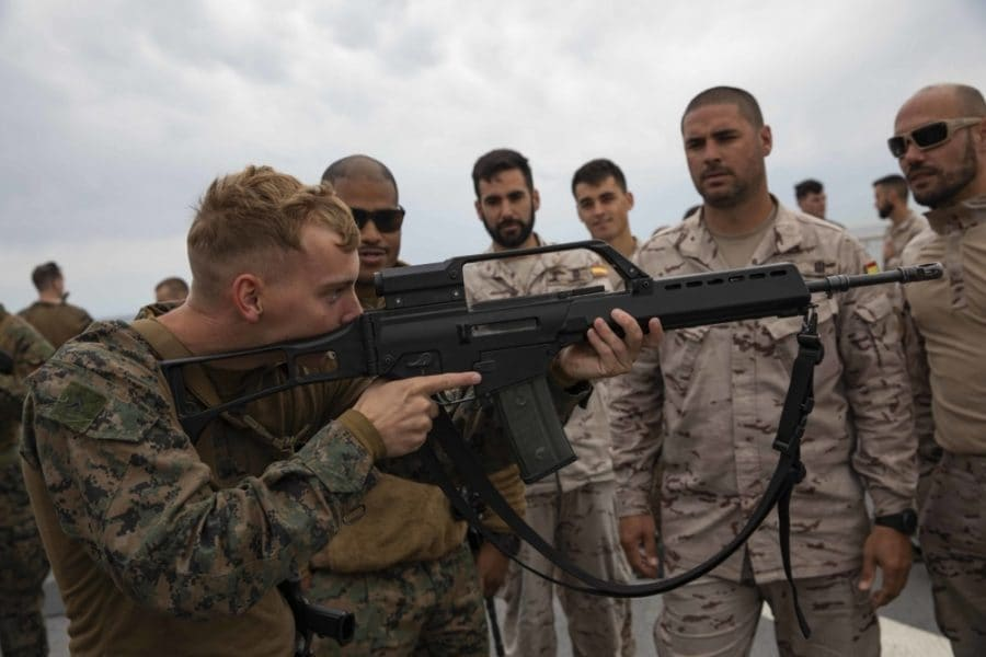 A U.S. Marine hefts a German-made Heckler and Koch G36 automatic rifle overseas, June 10, 2019. The HK G36 and semi-auto SL8 are constructed almost entirely of a reinforced carbon-fiber polymer. (Photo: U.S. Marine Corps)