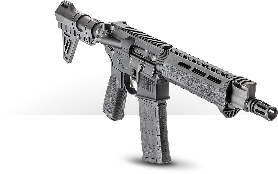 The new 5.56 SAINT pistol has a nickel boron coated trigger, 9.6-inch CMV barrel, BCM handguard with an integrated hand stop and a pinned Picatinny gas block. Also, note the A-2 flash hider.
