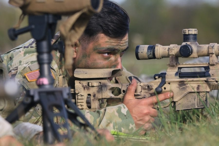 A Soldier from the 2-151 Infantry 76th Brigade Combat Team prepares to fire a M2010 Enhanced Sniper Rifle at sniper event during the TAG Marksmanship Competition at Camp Atterbury Oct. 19, 2019 (Photo: U.S. Army)