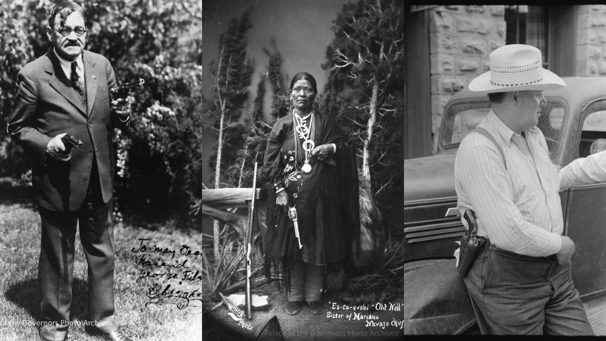 Here we see Elfego Baca, noted Old West lawman in 1930; Es-ta-yeshi (Old Nell or Nelly), Sister of Mariano, Navajo chief in 1886; and the Sheriff of Mogollon NM in 1940; all with their Colt SAAs (Photos: Palace of the Governors Photo Archives, New Mexico History Museum, Library of Congress)