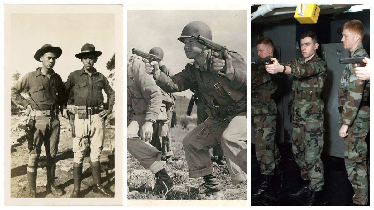 From 1916 through the late 1990s, the uniforms changed but the M1911 remained a common denominator. (Photos: Library of Congress)
