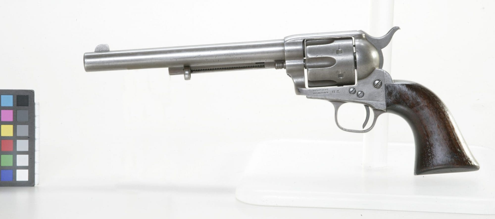 This early Colt Single Action Army, SN 5405, has an 1874 production date and U.S. military stamps. It was turned over by Sitting Bull to the Canadians and is now in the Canadian War Museum (Photo: CWM)