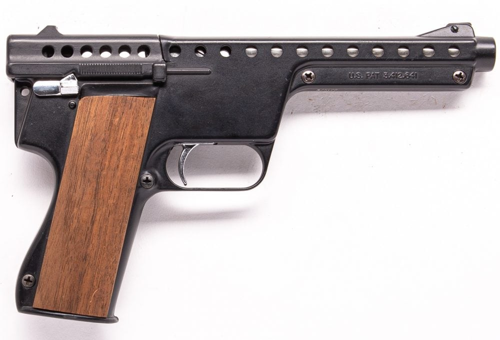 Produced for two years, this Gyrojet Mark II Semi-Automatic Rocket Pistol dates from October 1969-- near the end of the company's existence.
