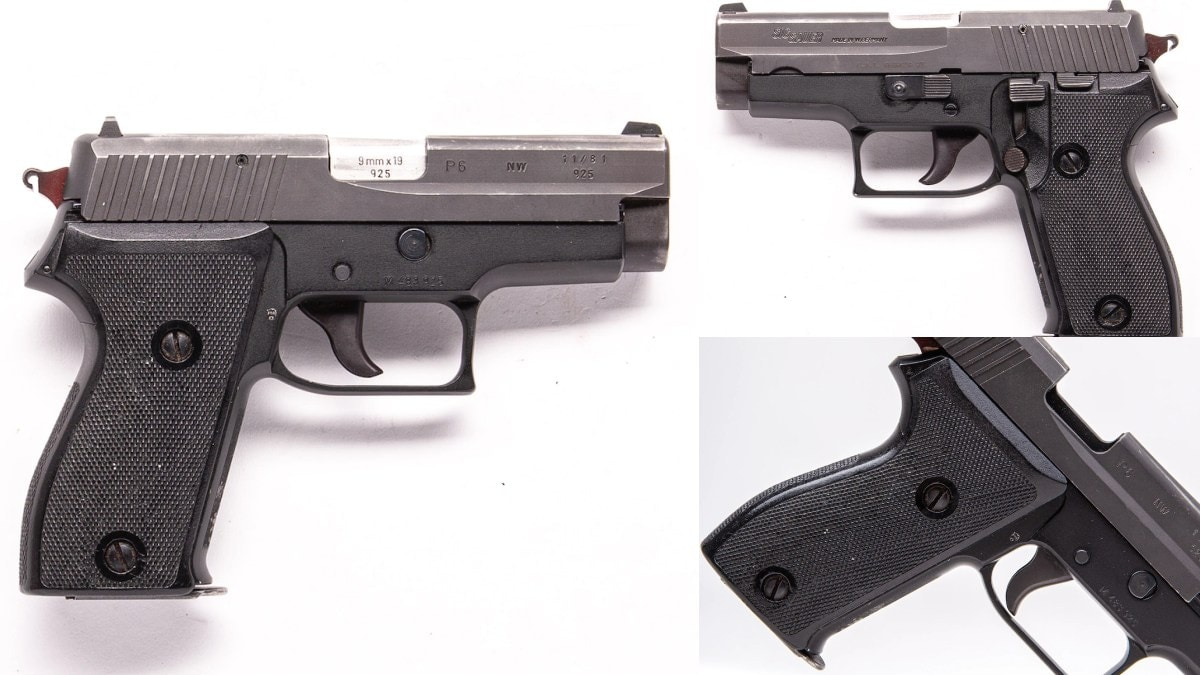 This 1981-made West German P6 police pistol, a variant of the P225, is a surplus compact 9mm single stack with the markings of the Nordrhein-Westfalen state police. Imported a few years ago after the agency upgraded their guns, you can almost hear the Oompa music just looking at this 8+1 round parabellum. https://www.guns.com/firearms/handguns/semi-auto/sig-sauer-p6-9mm-single-double-8-rounds-3-5-barrel-used?p=37393