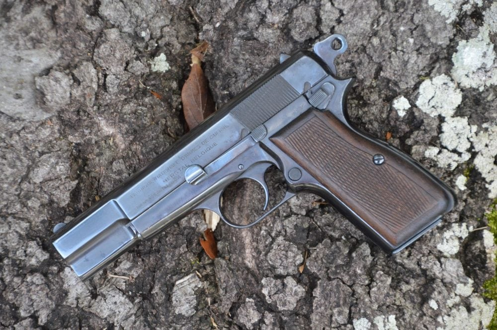 The Browning Hi-Power displayed on stone