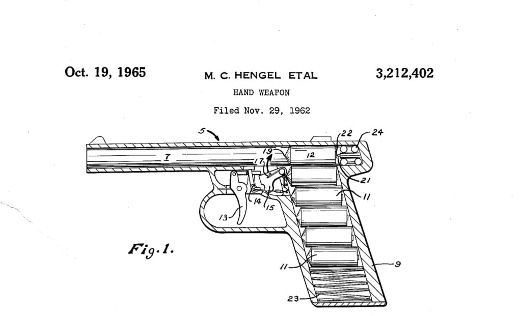 The long-expired patent #3,212,402 for the Gyrojet was filed in 1962 by Mathew C Hengel, Arthur T Biehl, and Robert Mainhardt on behalf of MBA and was issued in 1965.