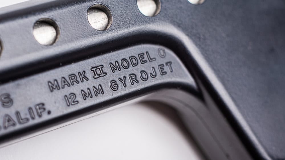 Manufactured by MBA Associates in San Ramon, California, the Mark II pistol uses the 12mm Rocketeer Automatic Rocket, a spin-stabilized projectile that has long been out of production.