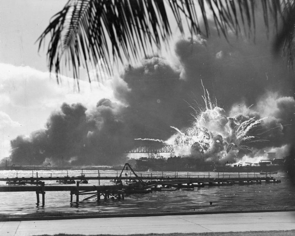 USS SHAW exploding Pearl Harbor Nara 80-G-16871