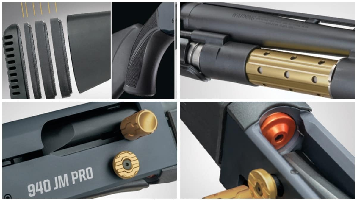 These 940 JM Pro series features nickel boron-coated internal parts, and a competition-level loading port, elevator, and follower. The adjustable stock and streamlined forend, coupled with an oversized and contoured charging handle and bolt release button combine are ideal for quick manipulation as is the enlarged and beveled loading port, ideal for quad-loading.