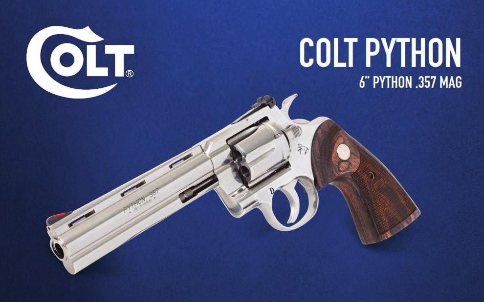 The new 6-inch barrel Colt Python has an unloaded weight of 46-ounces and an overall length of 11.5-inches.