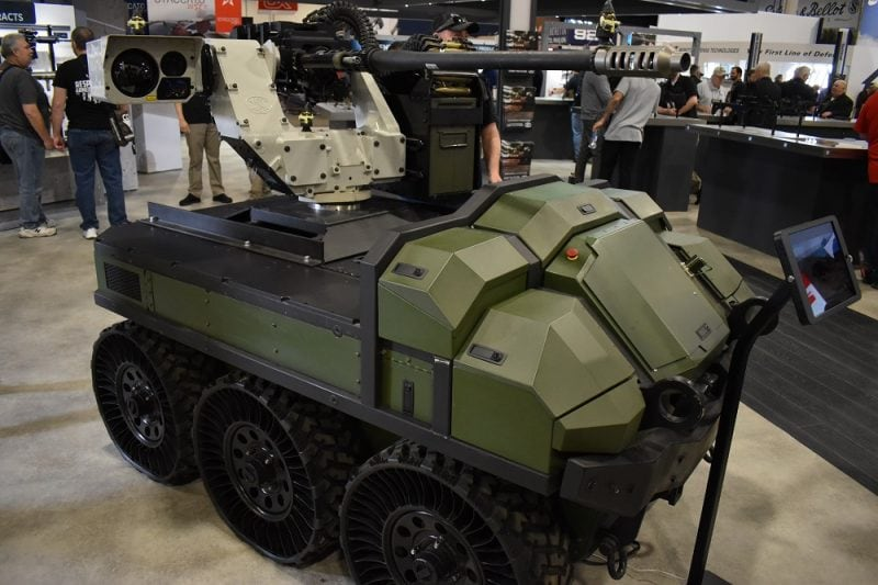 Then again, there was also an HDT Global Hunter Wolf 6x6 UGV complete with one of FN's deFNder remote weapon stations on hand...