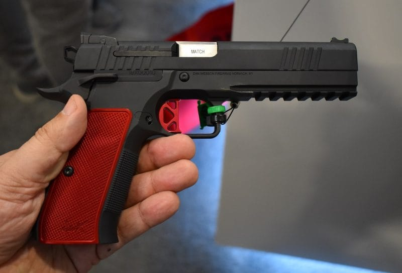 The DWX has an adjustable rear sight, aluminum grips, an ambi thumb safety, a fiber-optic 1911-style front sight, CZ Shadow 2 style rear sight, flat K-style trigger, and checkering on both the mainspring housing and front strap. (Photo: Chris Eger/Guns.com)