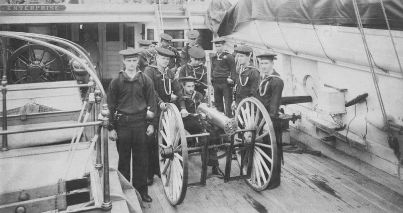 Enterprise Ship's Gatling gun and its crew posed on deck, probably while she was at the New York Navy Yard, circa spring 1890 Bulldog NH 54203 c